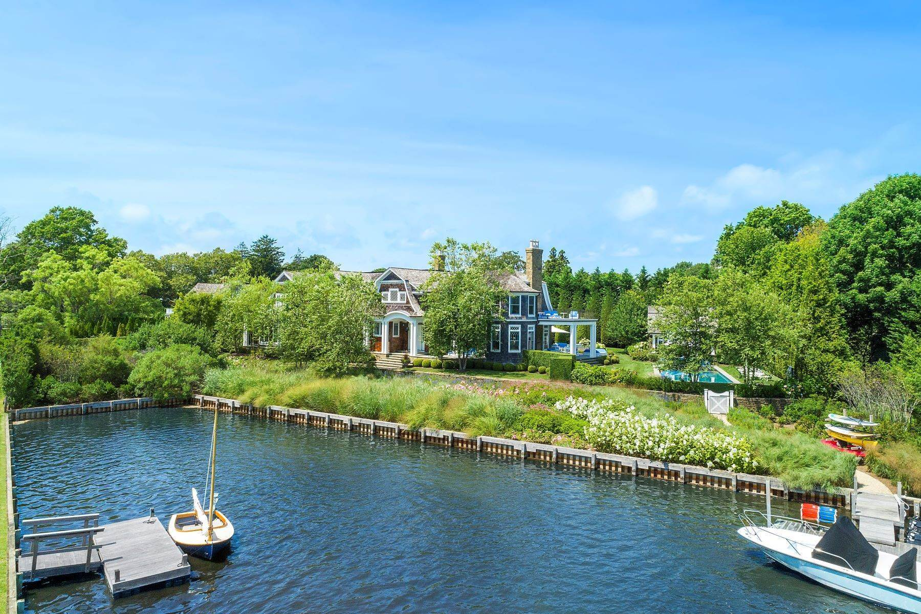 Single Family Homes for Sale at Water Mill Waterfront 29 Cobb Isle Road Water Mill, New York 11976 United States